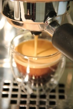 Freshly brewed espresso
