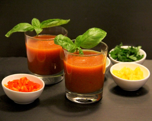 If you have guests pour the gazpacho into glasses and serve the optional garnishes on the side.